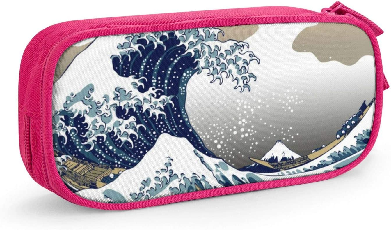 Japanese Painting Art Nautical Boats The Great Wave Off Kanagawa Lightweight and Spacious Pencil Bag Zipper Stationery Bag Stationery Box
