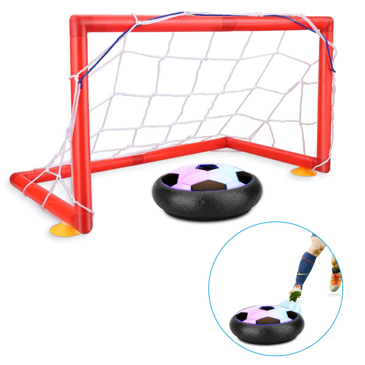 BAIVYLE Indoor Sport Kids Toys Hover Soccer Ball 3 4-16 Ye BOYI Soccer Goal Set Hover Football with 2 Gates for Children Gifts Sports Air Ball Indoor Outdoor Game with LED Lights-Boys // Girls Age of 2