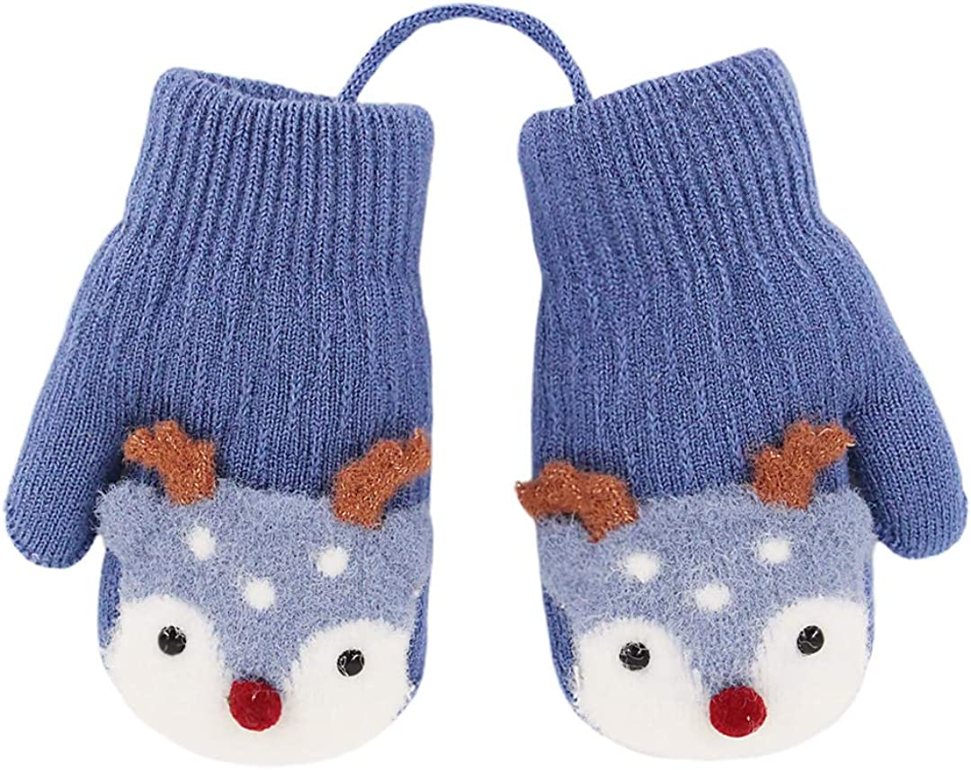 Novia's Choice Children Toddler Cute Warm Gloves Knitted Stretchy Mittens(Blue): Clothing