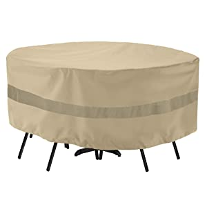 """SunPatio Outdoor Table and Chair Cover, Waterproof Round Patio Furniture Set Cover with Sealed Seam, Heavy Duty Dining Table Set Cover 72"""" Dia x 30"""" H, All Weather Protection, Beige"""