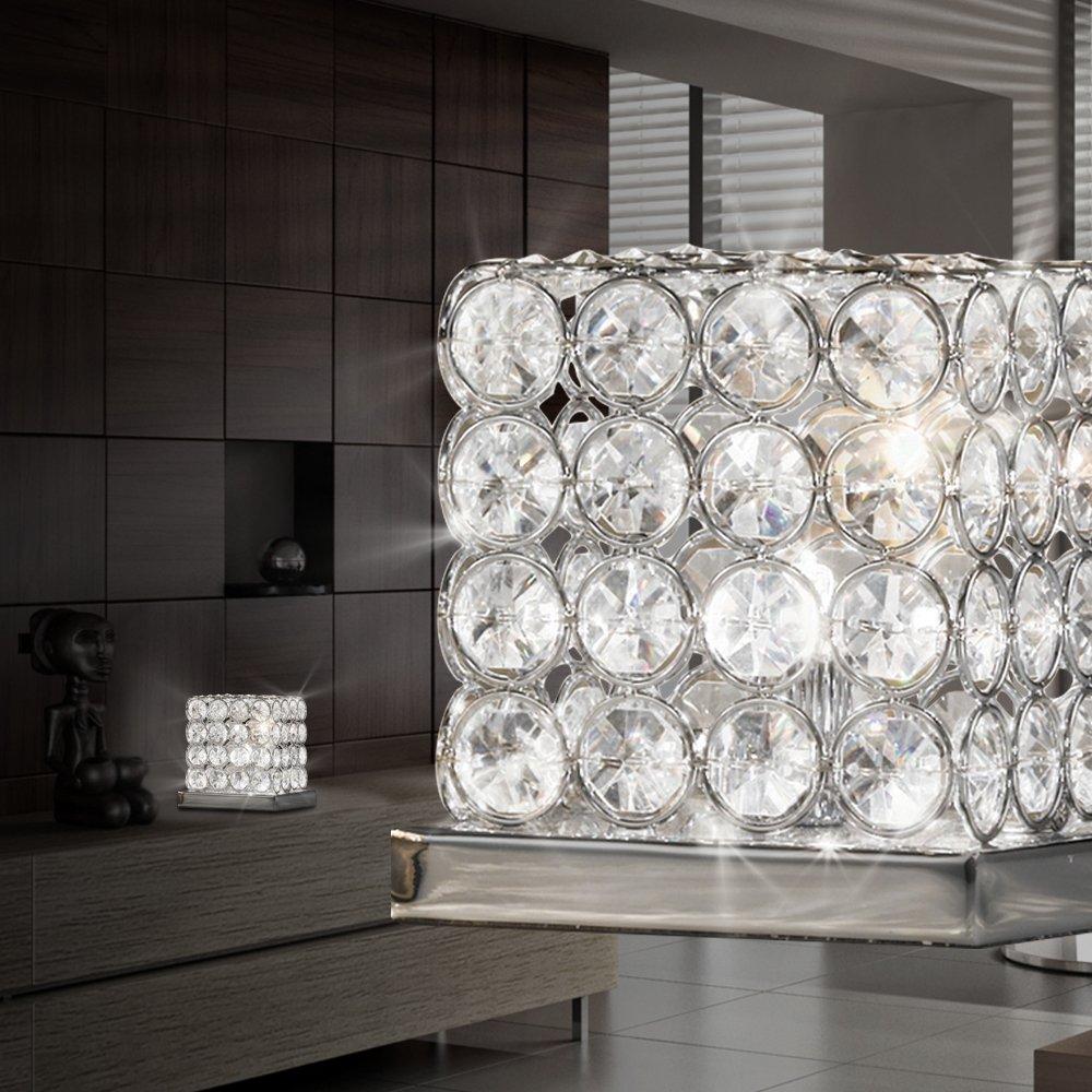 LED Design Nacht Tisch Leuchte Ess Zimmer Beleuchtung Kristall K5 Leuchte Chrom