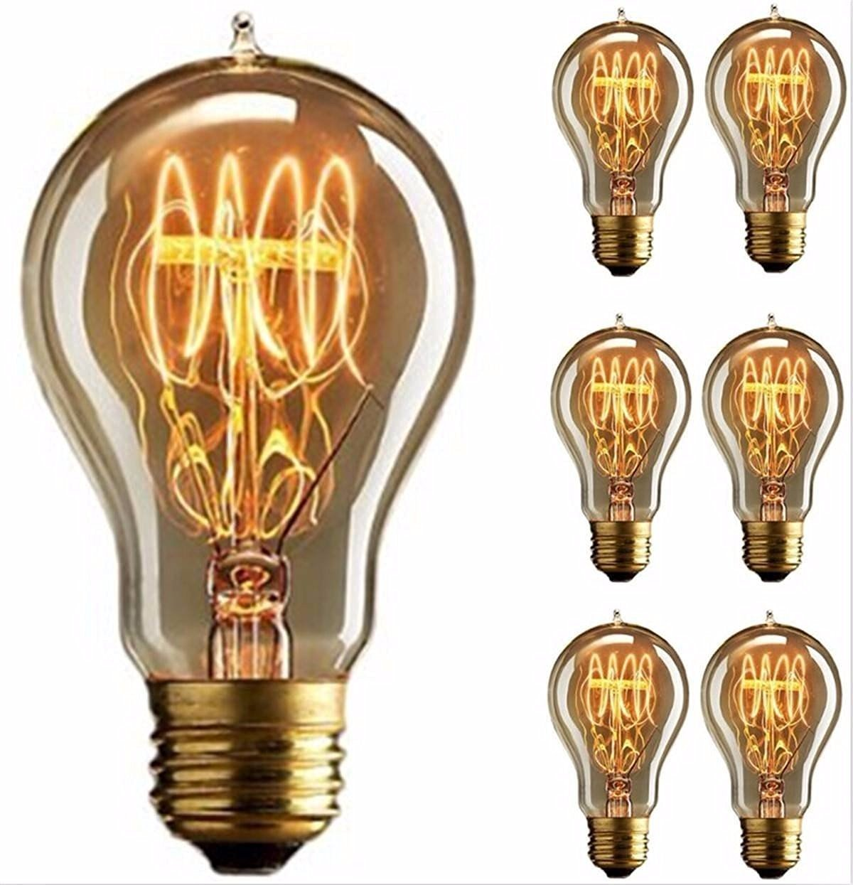 Edison Bulb, FadimiKoo Vintage Bulb 110v 60W Dimmable A19 Squirrel Cage Filament Edison Lihgt Bulb for Home Light Fixtures Decorative, Pack of 6 3