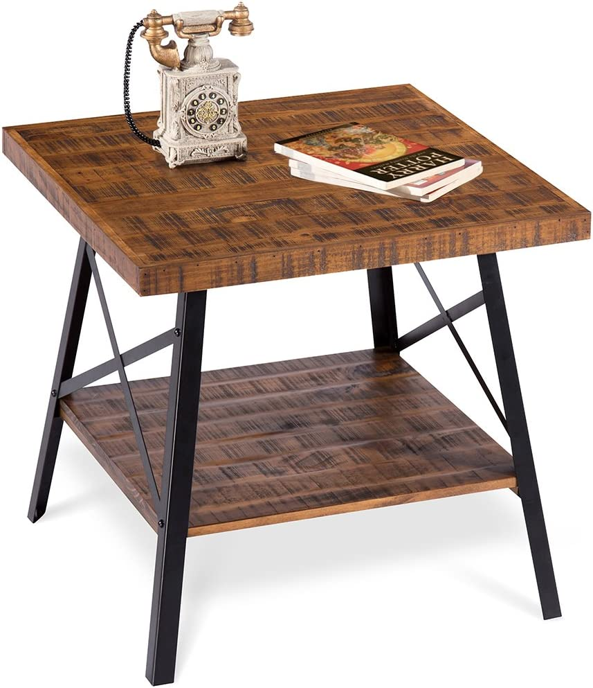 PrimaSleep Famille 24''W Solid Wood Top & Steel Legs Coffee Side End Garden Table, Rustic Brown