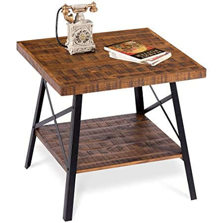 PrimaSleep PVC23T01S Famille 24 W Solid Wood Top Steel Legs Coffee Side End Garden Table, Rustic Brown