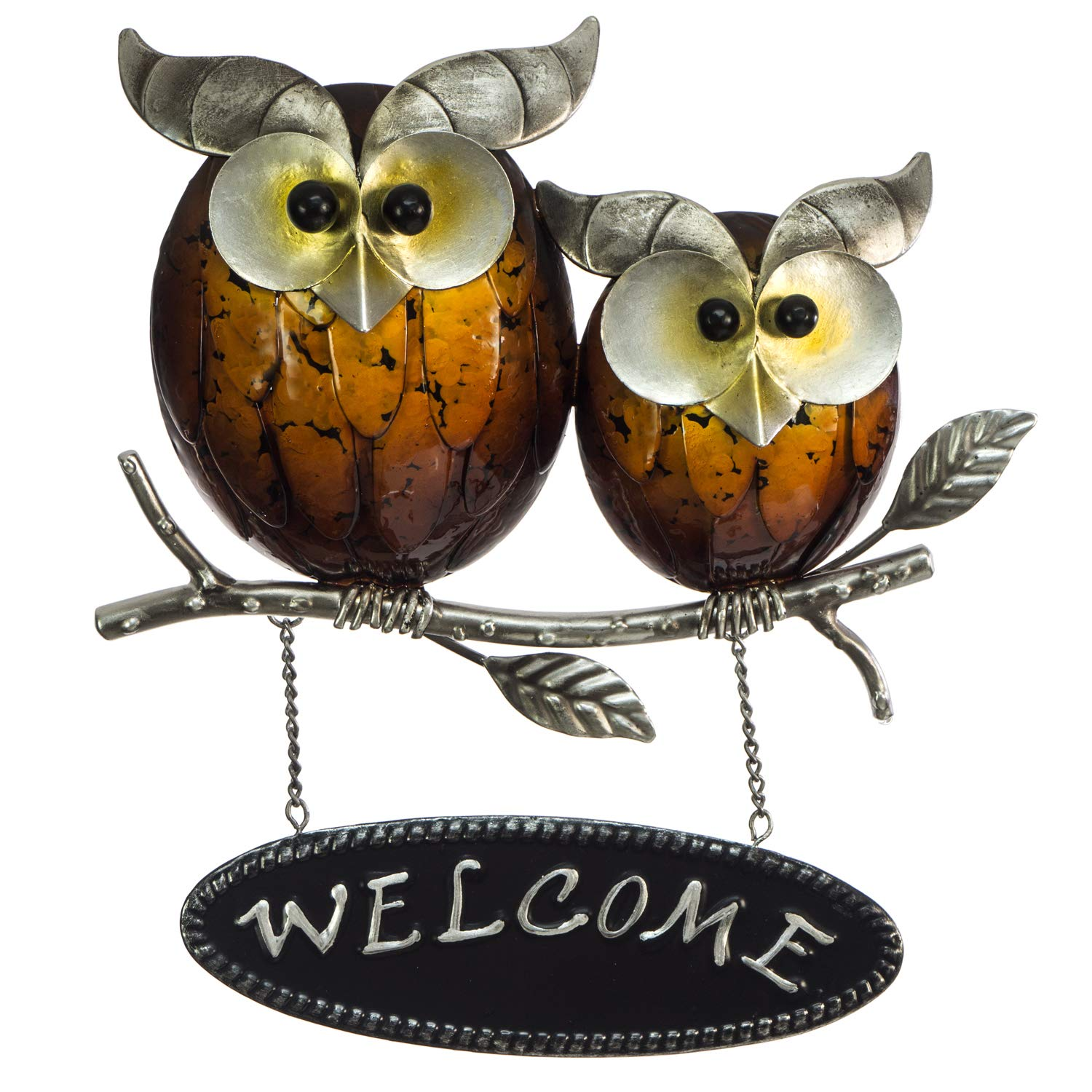 "Owl Welcome Wall Décor Sign – 3D Metal Design - Hand-Painted - 11"" x 10"" - Cute Home Decoration - Indoor or Outdoor Use - Wall Hanging in Contemporary Farmhouse Style"