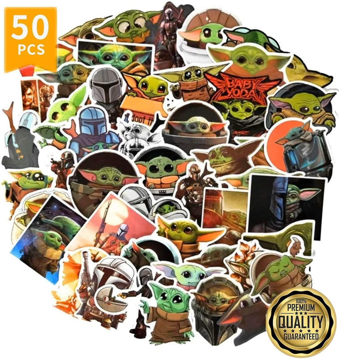 Baby Yoda Stickers [50 PCS], The Mandalorian Merchandise Sticker with Yoda Baby for Hydro Flask Laptop Mug Water Bottles Laptop Phone Car Bumper Skateboard, Waterproof Decals Extra Durable 100% Vinyl