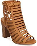 Delicious FI59 Women Nubuck Peep Toe Cut Out Chunky Heel Sandal - Tan