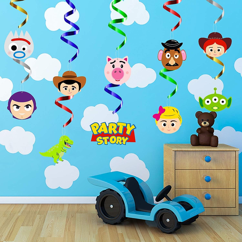 Amazon Co Jp Mallmall6 30個 おもちゃ 第4パーティー 渦巻き 装飾 吊り下げ ストリーマー おもちゃ 4テーマ 誕生日パーティ用品 ウッディバズ ライトイヤー ボー ピープ ジーレックス 天井スパイラル ルームデコレーション パーティーの景品 おもちゃ