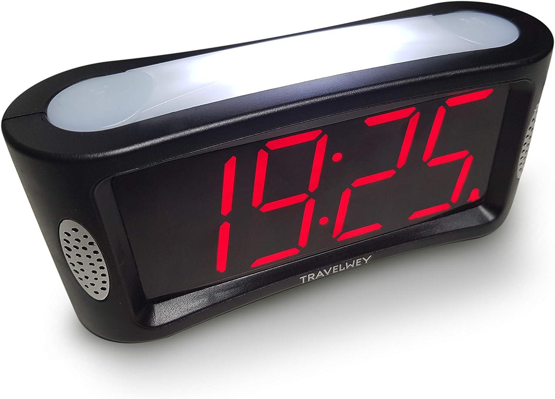 Travelwey Despertador Digital LED - Simple, con Cable, luz, regulador, Grandes dígitos, Reloj despertadores Digitales (12/24 Horas)
