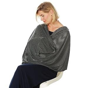 Kiddo Care Nursing Cover Infinity Nursing Scarf for Breastfeeding (Grey Black Narrow Stripes)