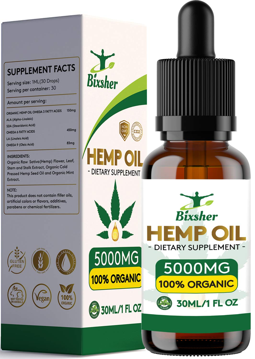 Premium Hemp Oil Drops 5000 mg | Pure Organic | Natural Sleep Aid | for Pain Relief, Anxiety and Stress | Vegan Friendly | 100% Natural Ingredients Rich in Omega 3-6-9 & Vitamins | Gluten Free by Bixsher