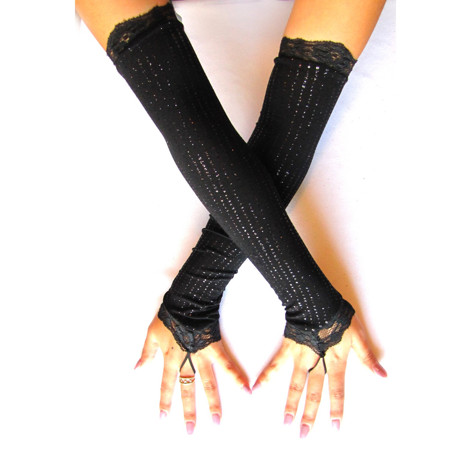 Black V loop Fingerless Gloves Sparkle Arm Warmers Opera