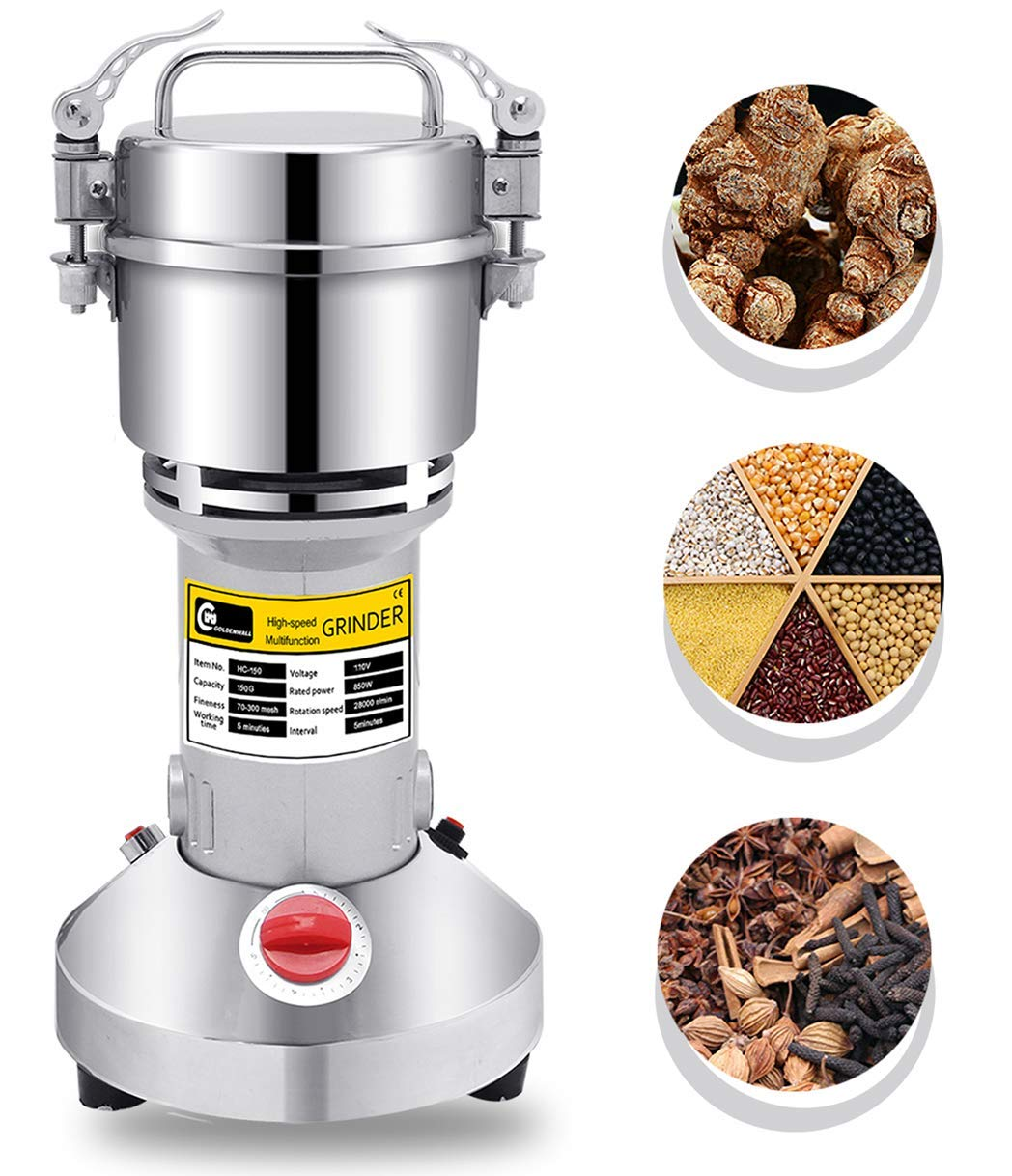CGOLDENWALL 300g Electric Grain Mill Spice Herb Grinder Pulverizer Super  Fine Powder Machine for Spice Herbs Grains Coffee Rice Corn Sesame Soybean