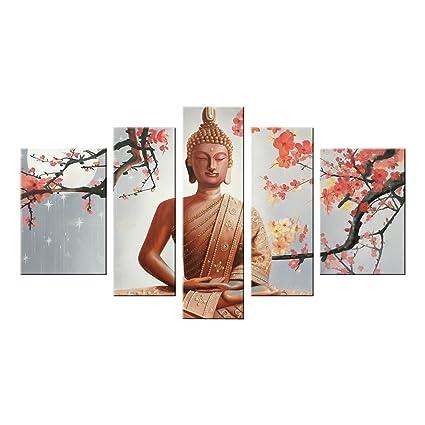 Amazon.com: Winpeak Pure Hand Painted Framed Canvas Art Buddha ...