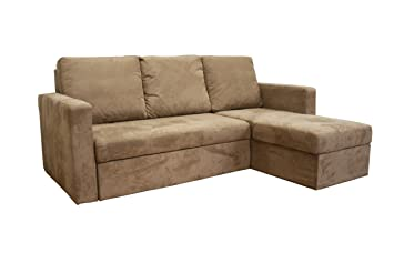 Baxton Studio Linden Tan Microfiber Convertible Sectional / Sofa Bed