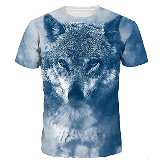 f4d20a3ca Graphic T Shirt for Men Summer Short Sleeve O-Neck White Lion Print Tees  Shirt