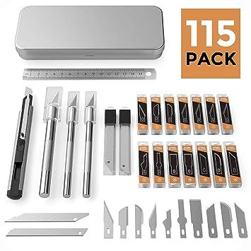 Amazon.com: Nicpro - Juego de 115 cuchillos Exacto, 3 ...