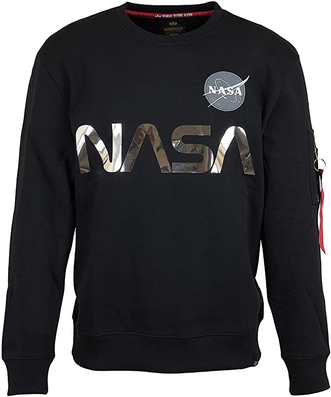 Negro ALPHA INDUSTRIES de los Hombres Sudadera Reflectante NASA
