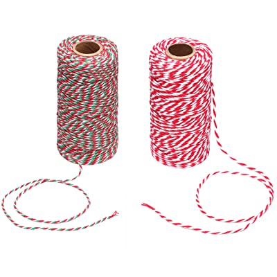 Maosifang Christmas Bakers Candy Rope Ribbon Twine 2 mm Cotton Rope Cord String for Gift Wrapping Arts Crafts 656 Feet, 2 Pieces : Office Products