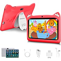 Tablet para Niños con WiFi 7 Pulgadas Android 10 Pie, 3GB RAM+32GB ROM/128GB y Juegos Educativos (Rojo)