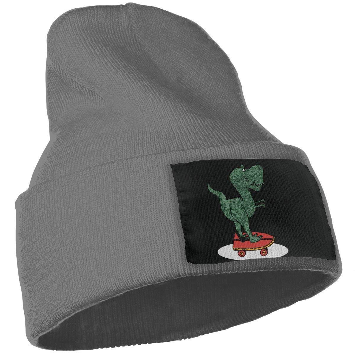 SLADDD1 Skateboarding Dinosaur Warm Winter Hat Knit Beanie Skull Cap Cuff Beanie Hat Winter Hats for Men /& Women