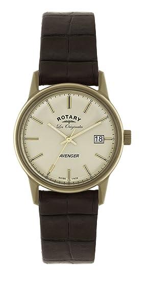 Rotary Les Originales GS90064/03 - Reloj para hombres, correa de cuero color marrón: Amazon.es: Relojes