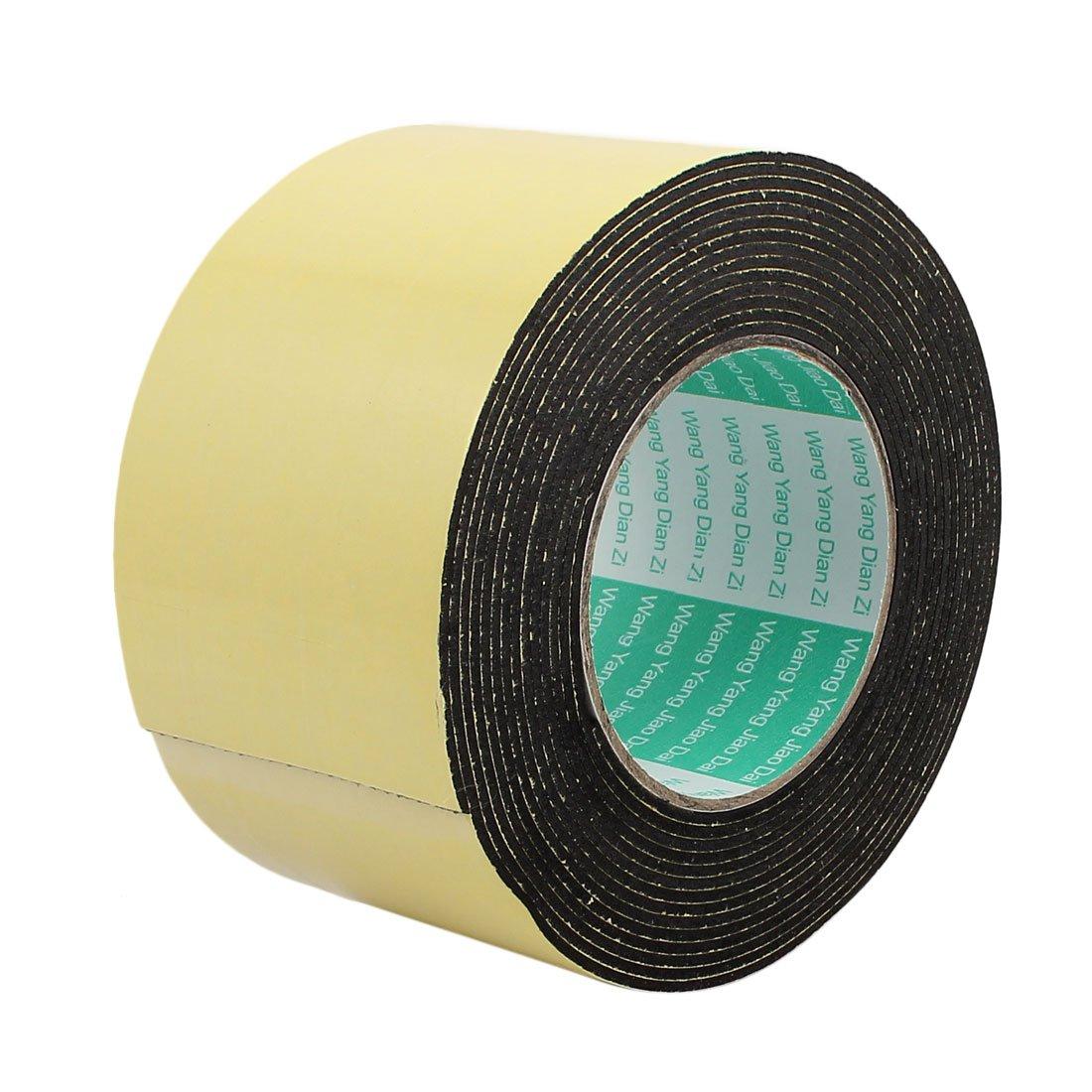 sourcing map 5Metro 80mm X 2mm Cinta Adhesiva de Marcaje Una Sola Cara de Espuma Esponja Protecció n de Golpes Choques Amarillo Negro SYNCTEA013642