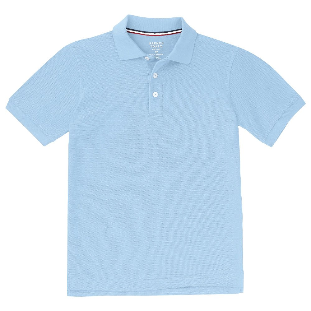 French Toast Boys' Big Short Sleeve Pique Polo, Light Blue, M (8) by French Toast