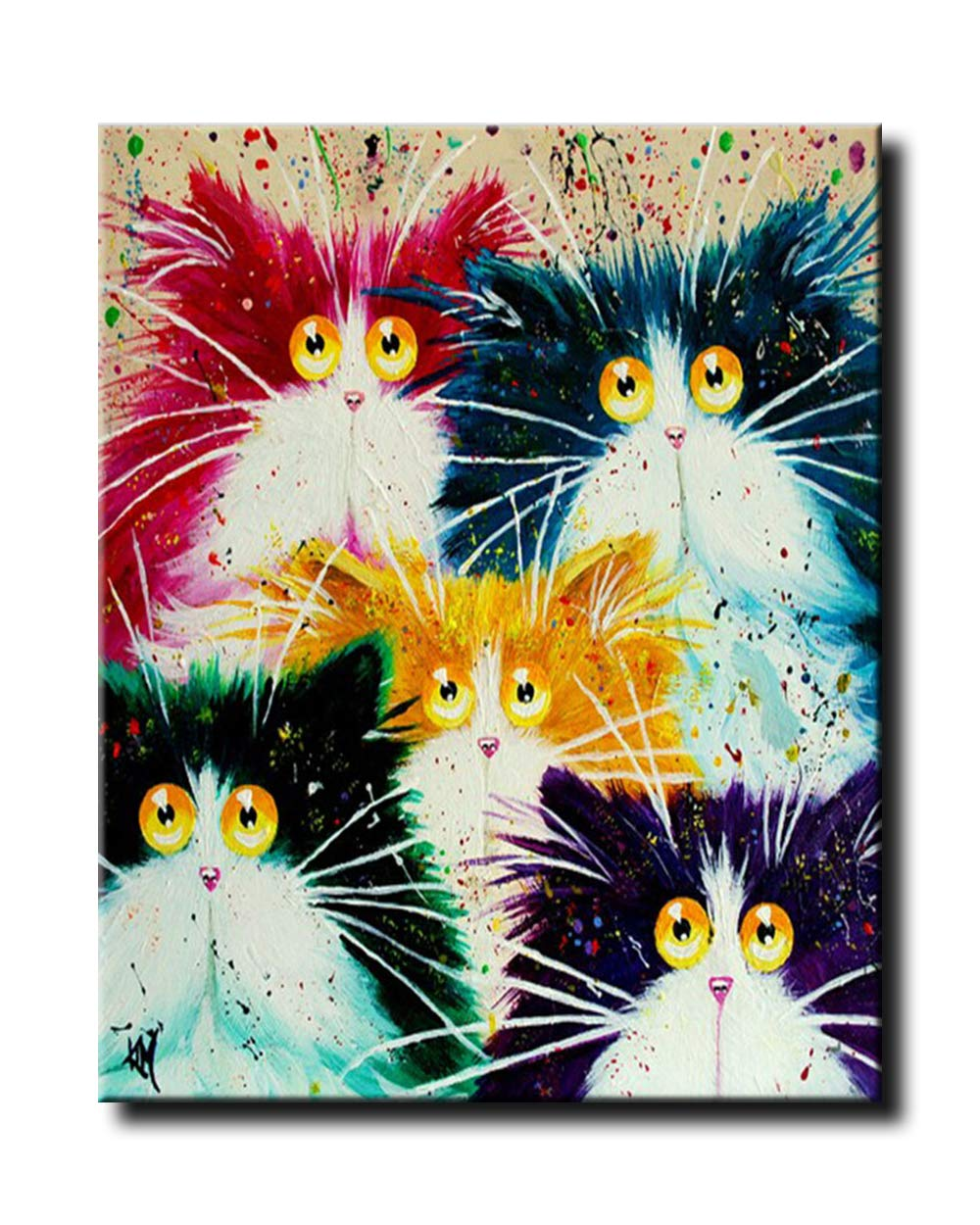 Beautiful DIY Artwork Painting Kit Easy ArtWorlds Painting by Number| Paint by Number Kits Abstract Kitten, Frameless Painting with a Twist Painting for All Ages.