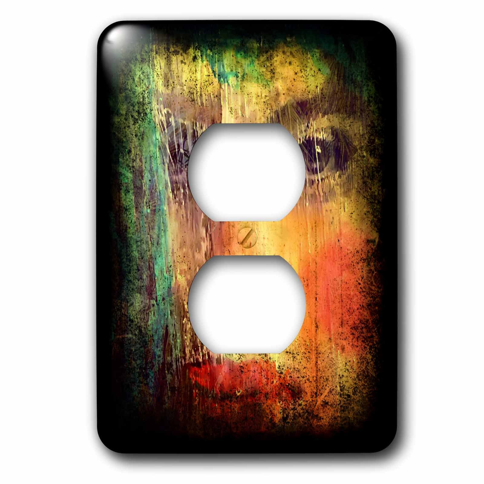 3dRose Cassie Peters Mixed Media - The Woman With Blue Hair - Light Switch Covers - 2 plug outlet cover (lsp_262925_6)