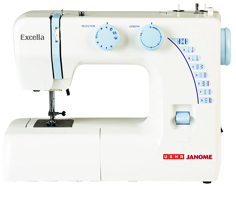 Usha Janome Excella Automatic Zig-Zag Sewing Machine (White/Blue)