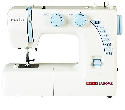 Usha Janome Excella Automatic ZigZag Sewing Machine WhiteBlue Custom Usha Stapler Sewing Machine