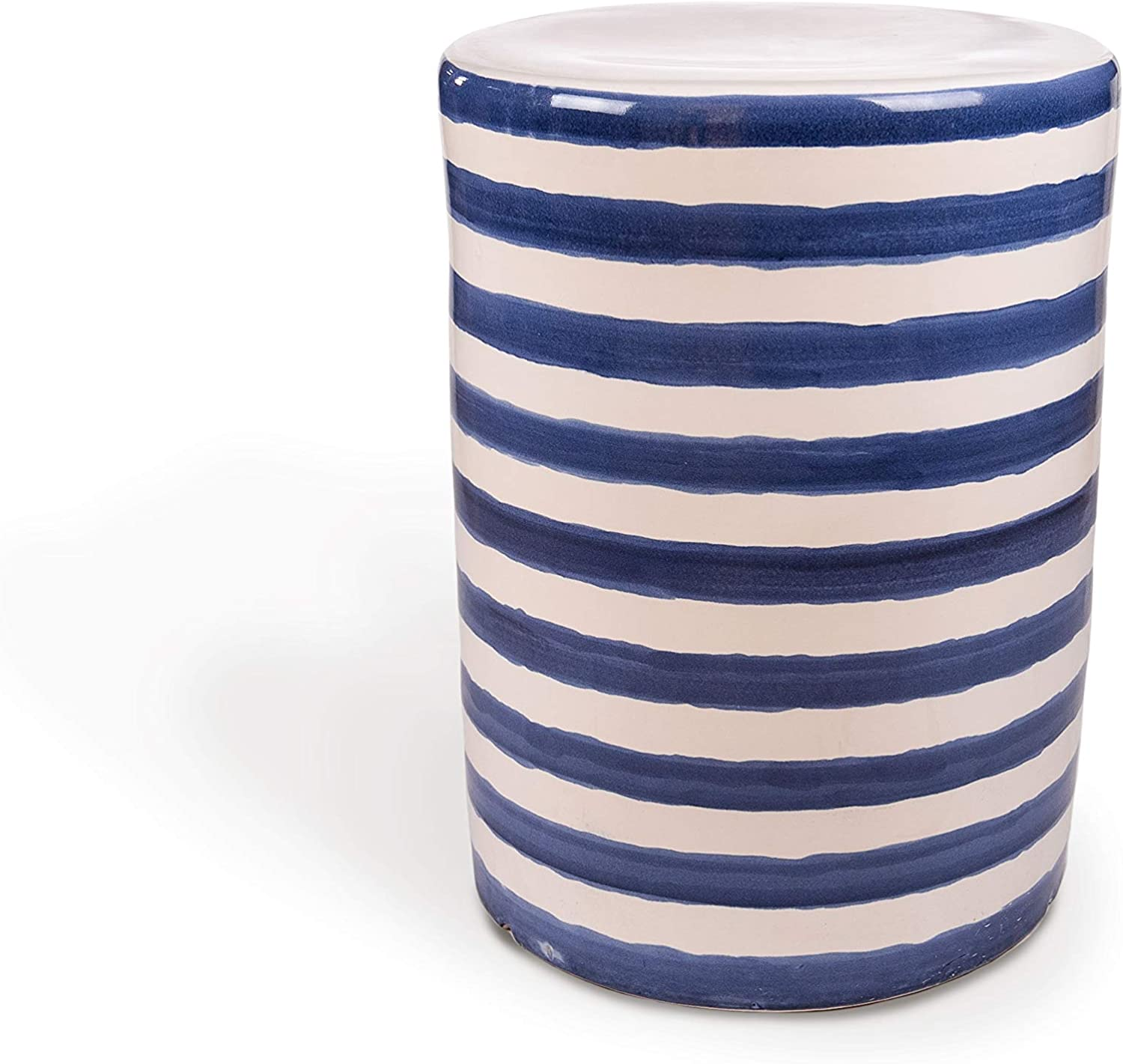 One Size Leisure Made 569004 Clara Ceramic Side Table Blue and White