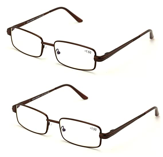 aa933017256 Men Metal Rectangle Reading Glasses - Blue AR Coating - Reduce fatigue