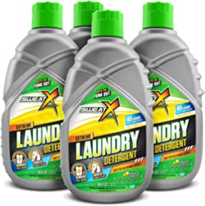 Sweat X Sport Extreme Laundry Detergent, High Performance Sports Wash for Activewear and All Fabrics, Case of 4