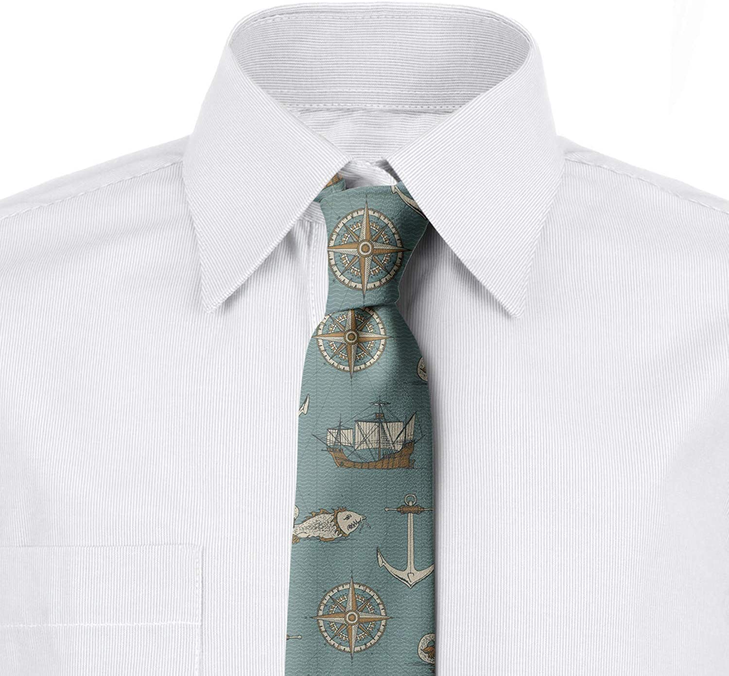 3.7 Retro Nautical Elements Art Ambesonne Mens Tie Peal Teal Ivory Camel
