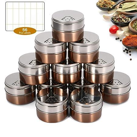 Janolia 12 Botes para Especias, Botes Magnéticas para Condimentos ...