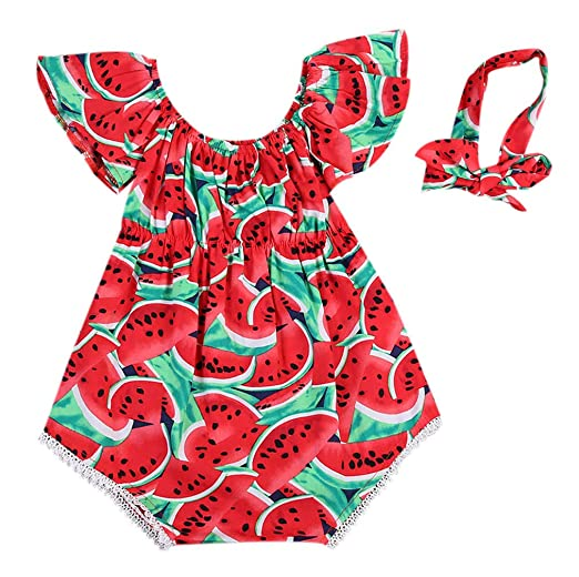 6e1f34573958 Cute Baby Girls Summer Clothes Watermelon Patterns Romper Sleeveless Jumpsuit  Outfit (0-6 Months