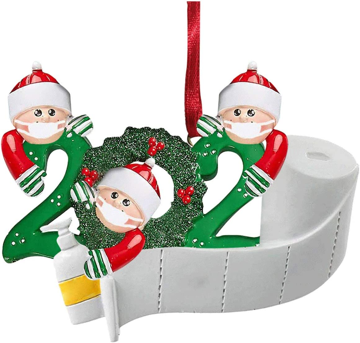 GN109 2020 Christmas Decorations Ornaments Indoor 2020 Personalized 1-6 Family Members Name Family Customized Decorating Set DIY Gift Christmas Decor (3 People)