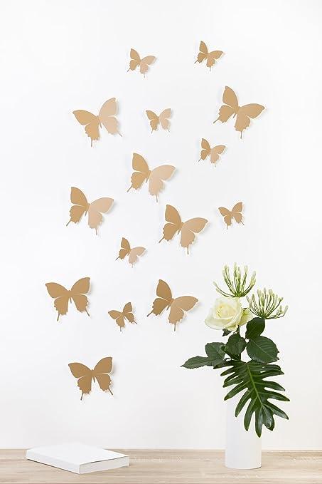 """63 opinioni per Bilderdepot24 """"Farfalle 3D""""- MARRONE CHIARO- Set di 15 pezzi con punti biadesivi"""