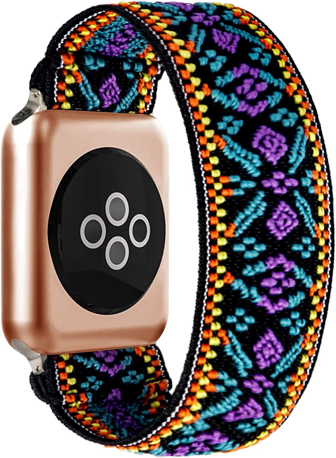 BMBEAR Stretchy Strap Loop Compatible with Apple Watch Band 38mm 40mm iWatch Series 6/5/4/3/2/1 Boho Blue