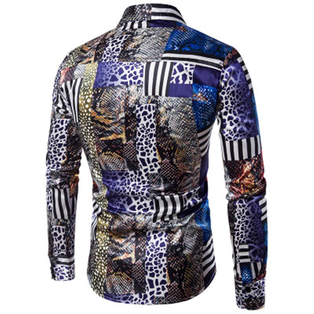 TYLI Mens Long Sleeve Shirt Button Shirt Mens Casual Shirt Retro Shirt