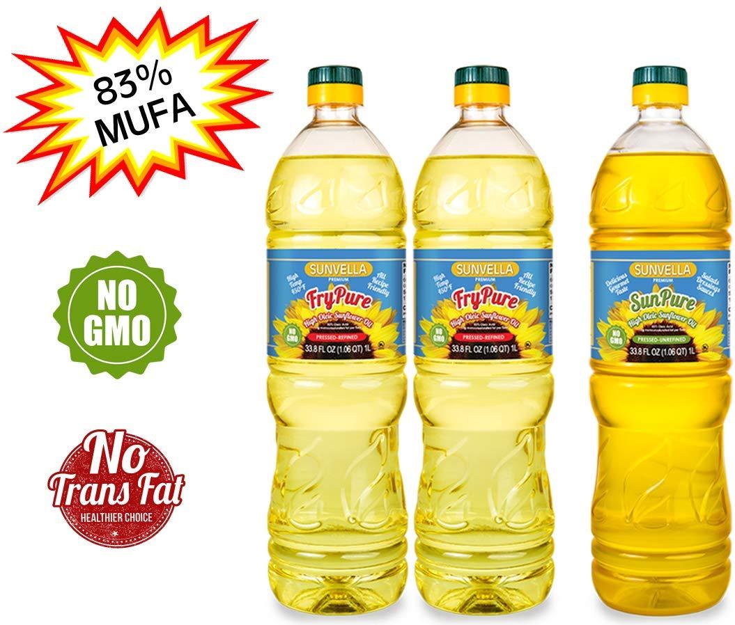 SUNVELLA Non-GMO High Oleic Sunflower Oil Variety Pack/Pressed-Refined + Pressed-Unrefined (2 x 33.8 FL OZ FryPure + 33.8 FL OZ SunPure) by SUNVELLA