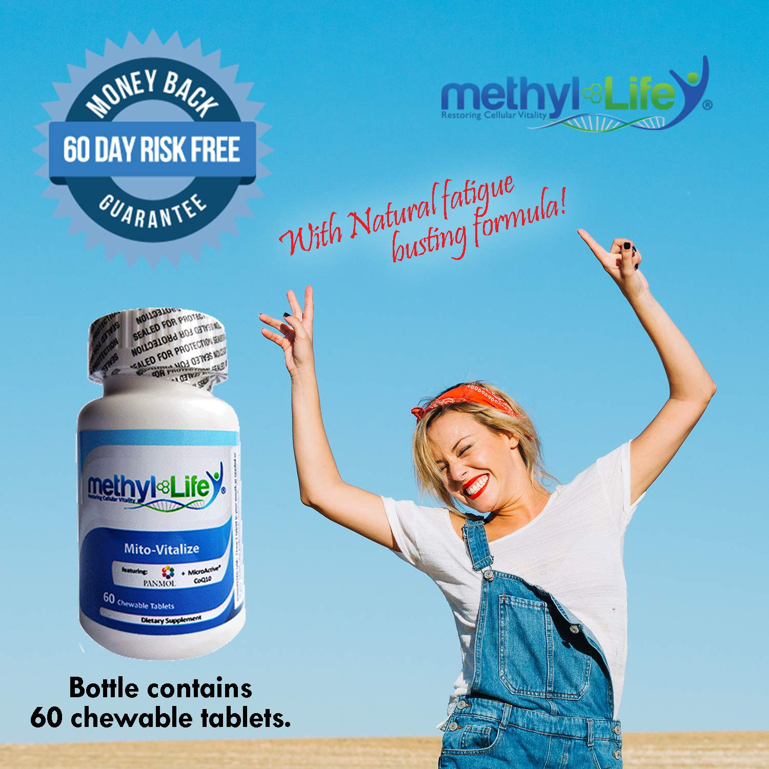 Mito-Vitalize by Methyl-Life Supplements| with (NADH 13.5mg & CoQ10 40mg) 60 Chewable Tablets