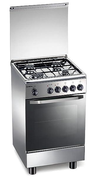 cucina a gas 50x50x85 cm inox 4 fuochi con forno elettrico regal rc153xs