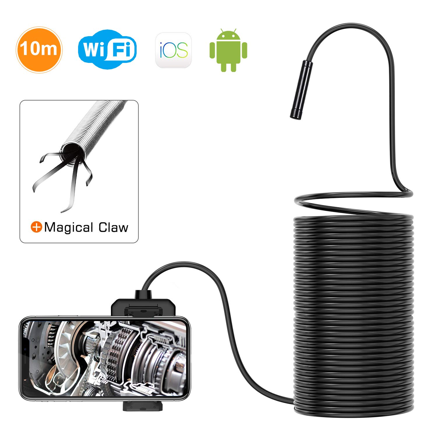 DEPSTECH 1200P Wireless Endoscope, 2.0 MP HD WiFi Borescope Inspection Camera, 16 inch Focal Distance Snake Camera with Phone Holder and Magical Claw for Android & iOS Smartphone Tablet