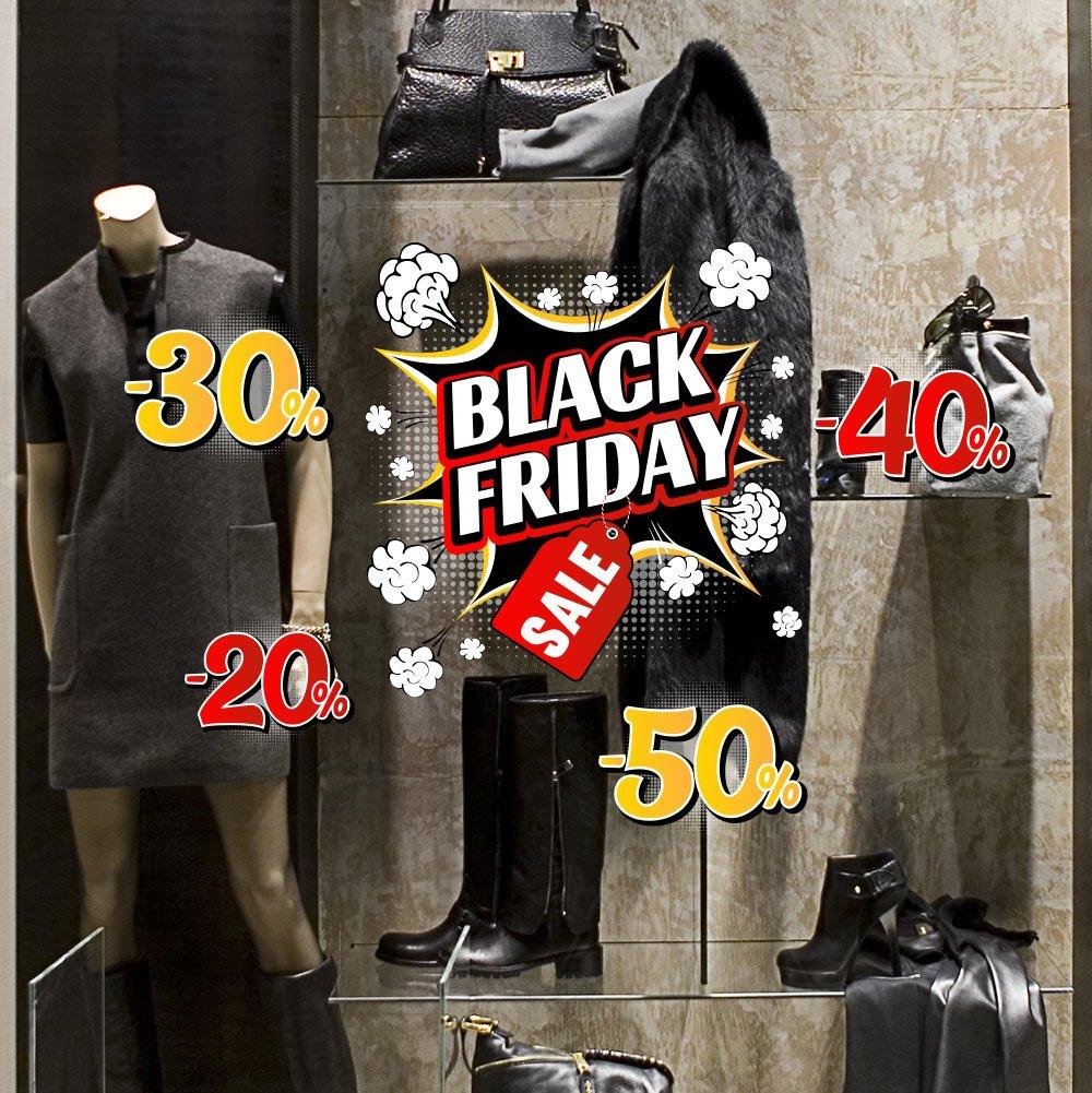 kina UVBF0007 Adesivi Murali Vetrofania -Black Friday Pop - Misure 40x30 cm - Vetrine Negozi per Black Friday, Stickers, Adesivi