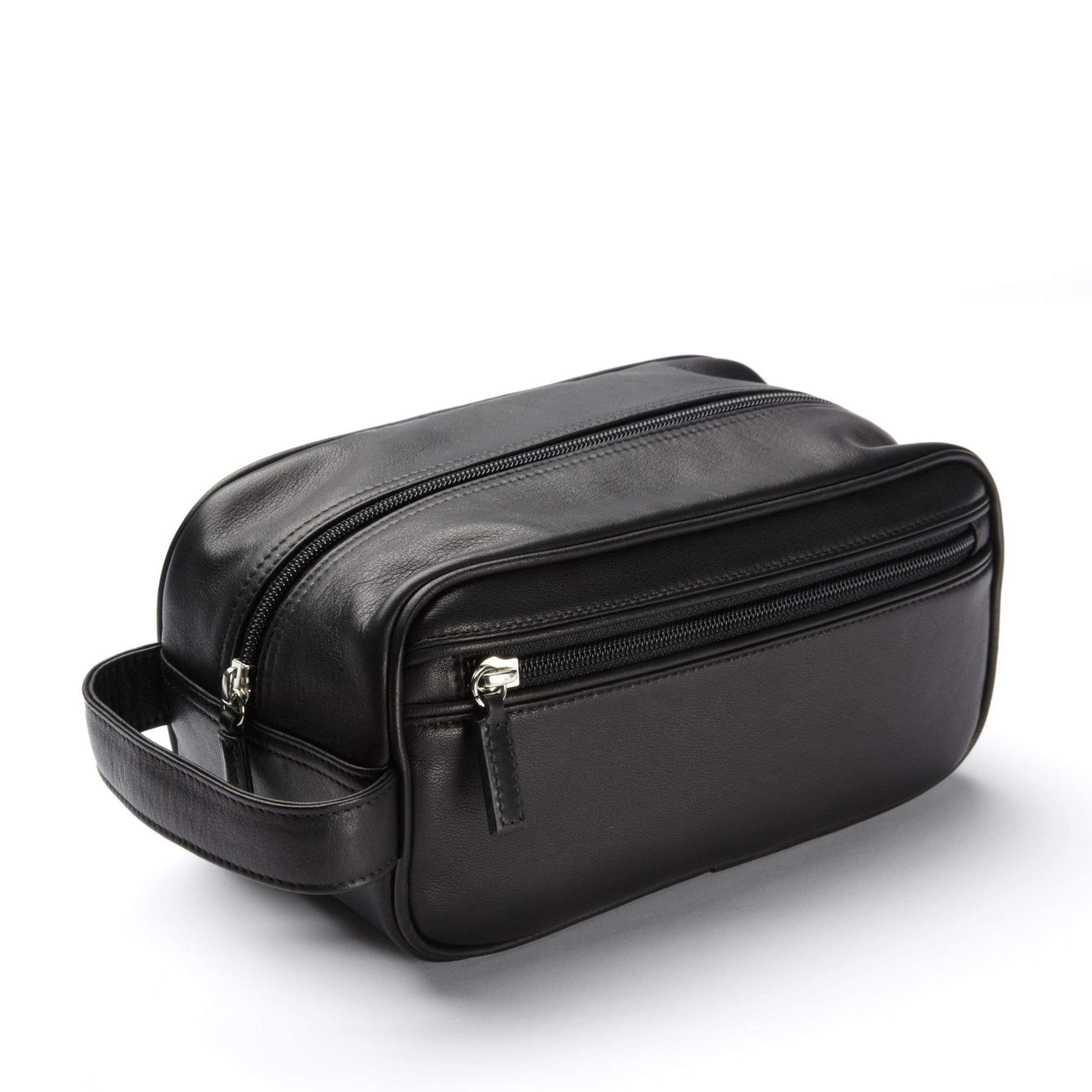 Leatherology Small Shave Toiletry Bag - Full Grain Leather - Black Onyx (black)
