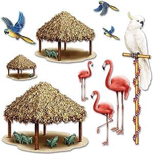 Beistle Tiki Hut And Tropical Bird Photo Props 10 Piece Luau Decorations, 8