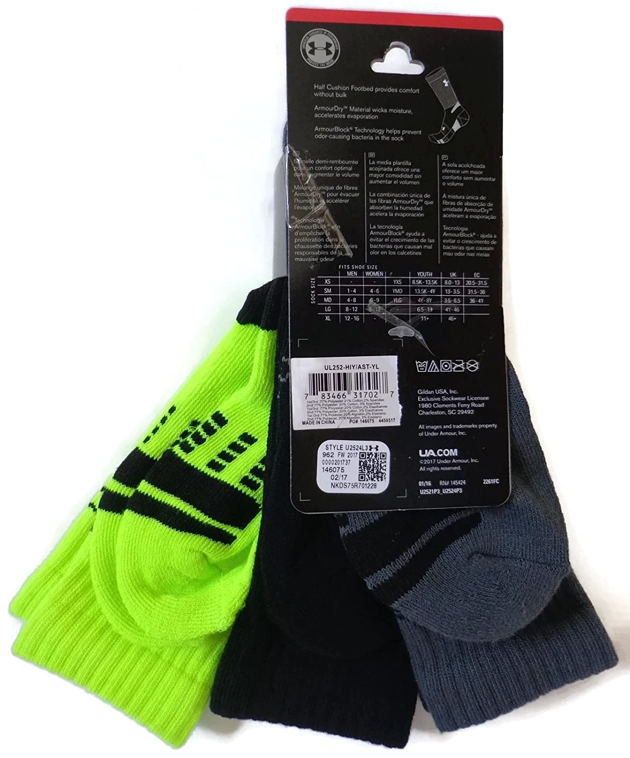 Amazon.com: Under Armour HeatGear Crew Socks 3-Pair Boys Youth Medium 4Y-8Y New: Clothing